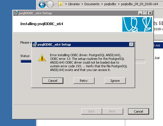 PostgreSQL: Error installing ODBC Driver