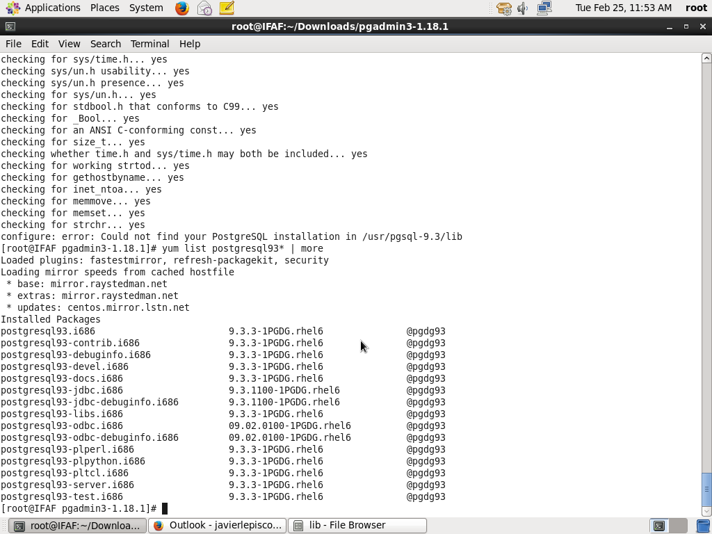 PostgreSQL: Re: pgAdmin III install with CentOS 6 5 and