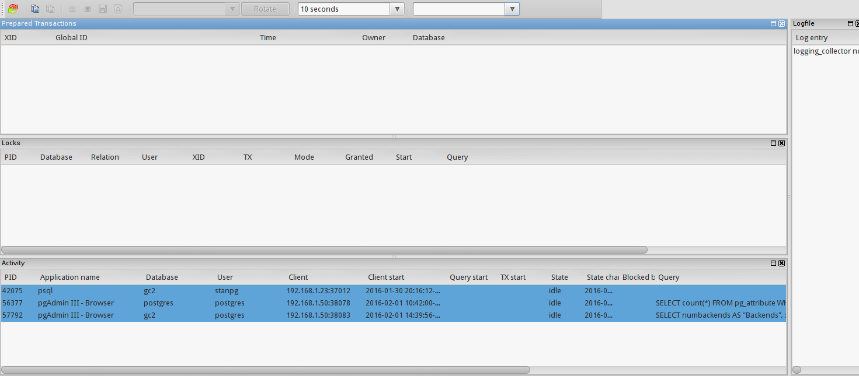 PostgreSQL: bug report: pgadmin3 server status dialog
