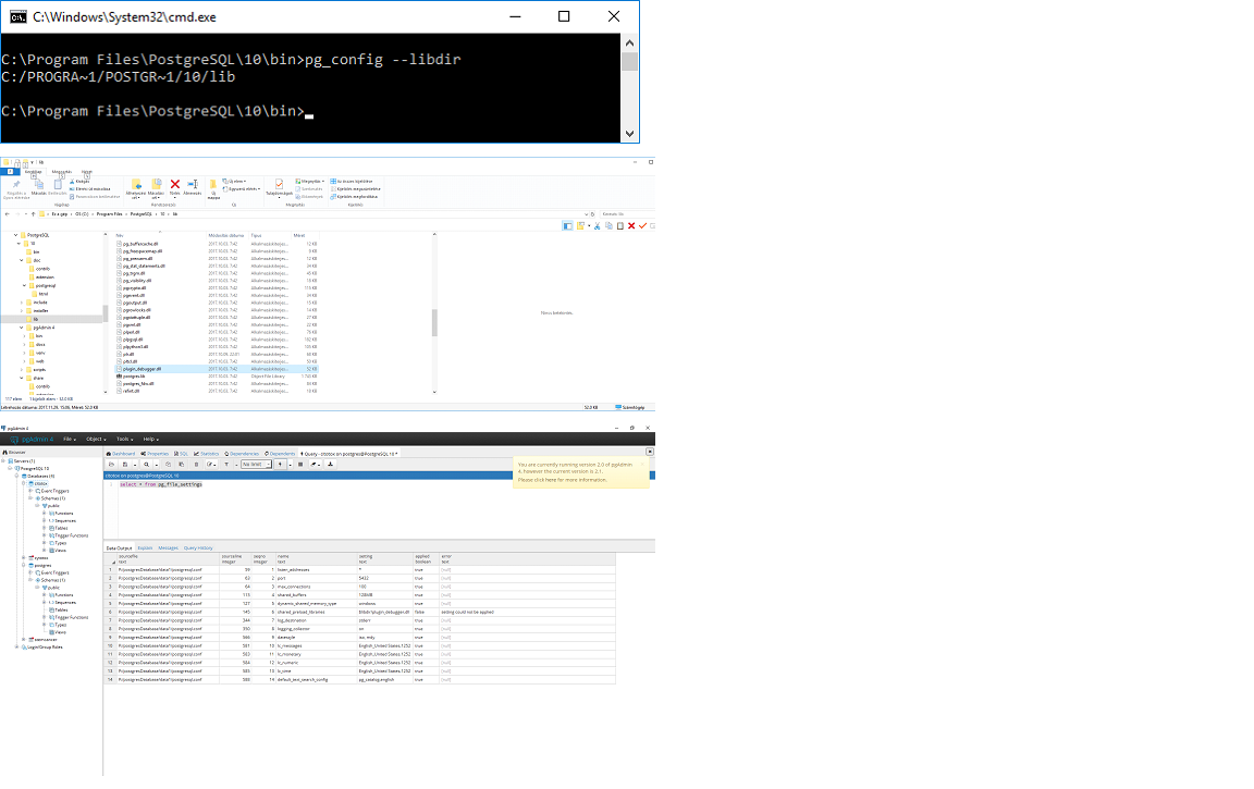 PostgreSQL: pgAdmin 4 enable debugging