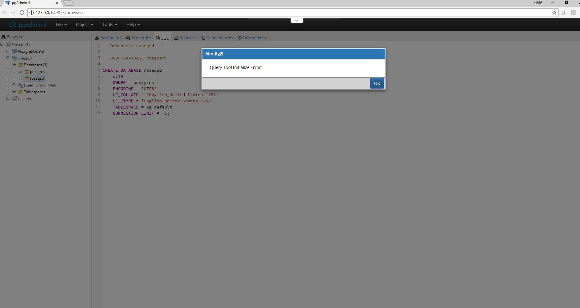 PostgreSQL: Query Tool Initialize Error